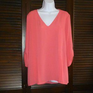 Chaus Poppy Pink V Neck Pleated Blouse, L, Nwt